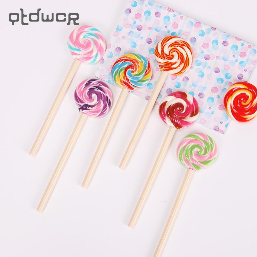 Nueva moda 0,5mm tinta negra Lovely Lollipop bolígrafos para niños papelería caramelo pluma Oficina suministros escolares