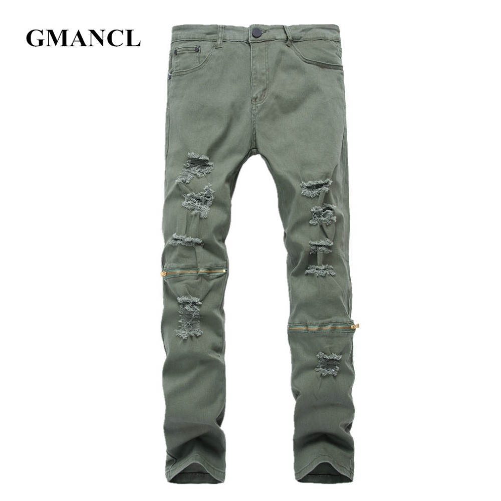 Knee Zipper Men Skinny Ripped Army Green Gray black Jeans New Mens Destroyed  Elastic Denim Pants - Online Buy Wholesale Mens Distressed Jeans Ripped 42 From China