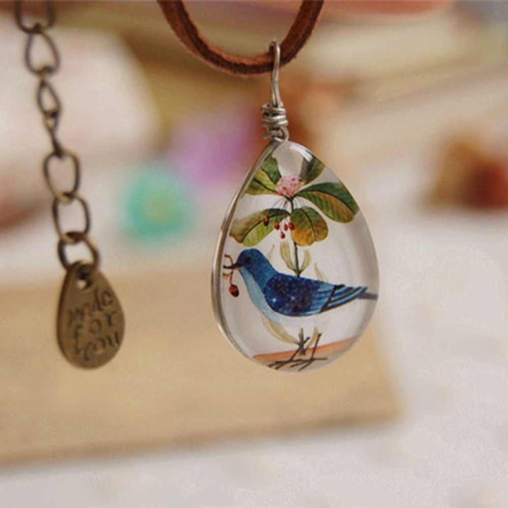 LIEBE אנגל בצורת דמעה שרשרת עור זמש אופנה תכשיטי שרשרת תליון קבושון זכוכית דו צדדיים תמונה ציפור מקסי