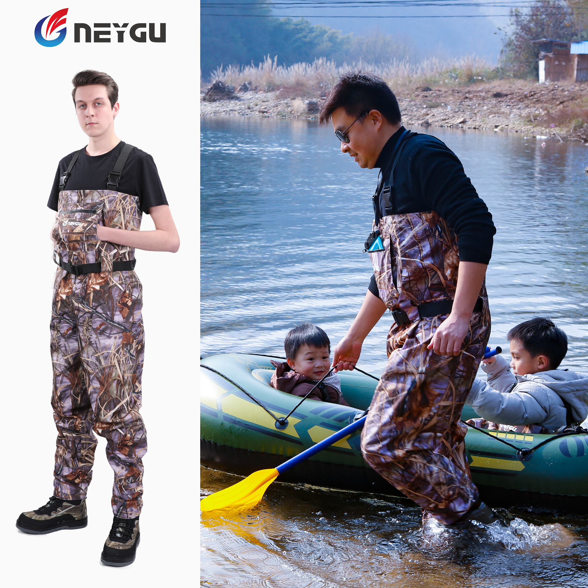 Neygu Quick drain Breathable Waders Stockingfoot Chest Wader Fishing Hunting Pants Marsh Hiking pants