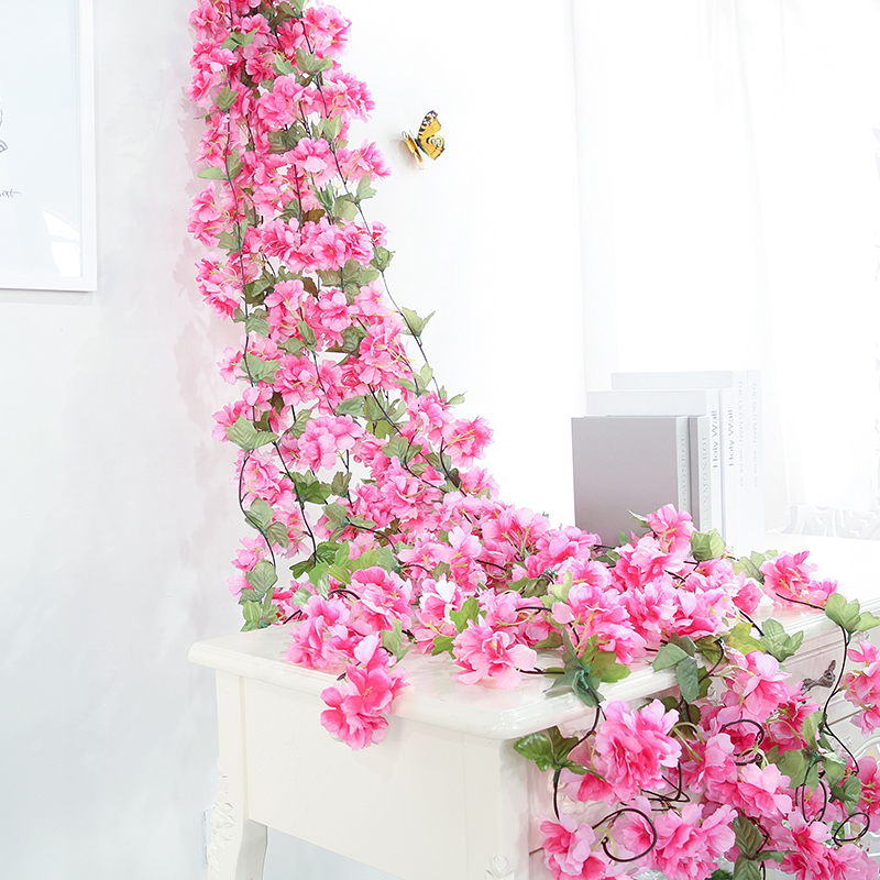Luyue 11pcs/lot Artificial Cherry Flower Vines Wedding Hanging Flower Fake Silk Cherry blossoms Simulation Rose Rattan Colorful