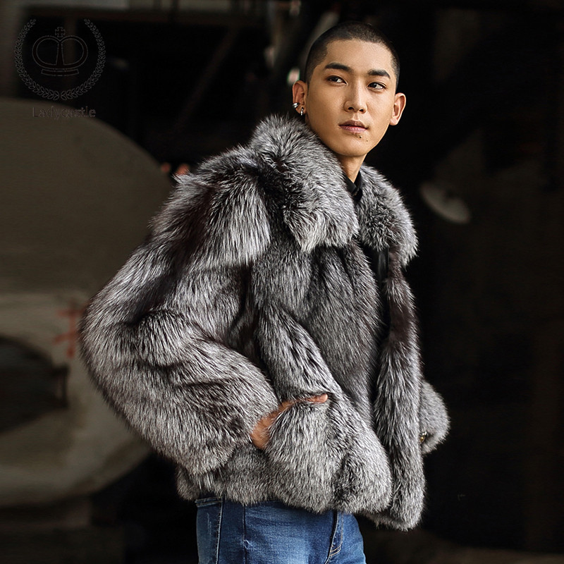 Real Natural Sliver Fox Fur Coat Men 2018 New Luxury Male Fur Jacket Genuine Thick Warm Winter Fashion Pelt Fox Fur Coat FM-011(China)