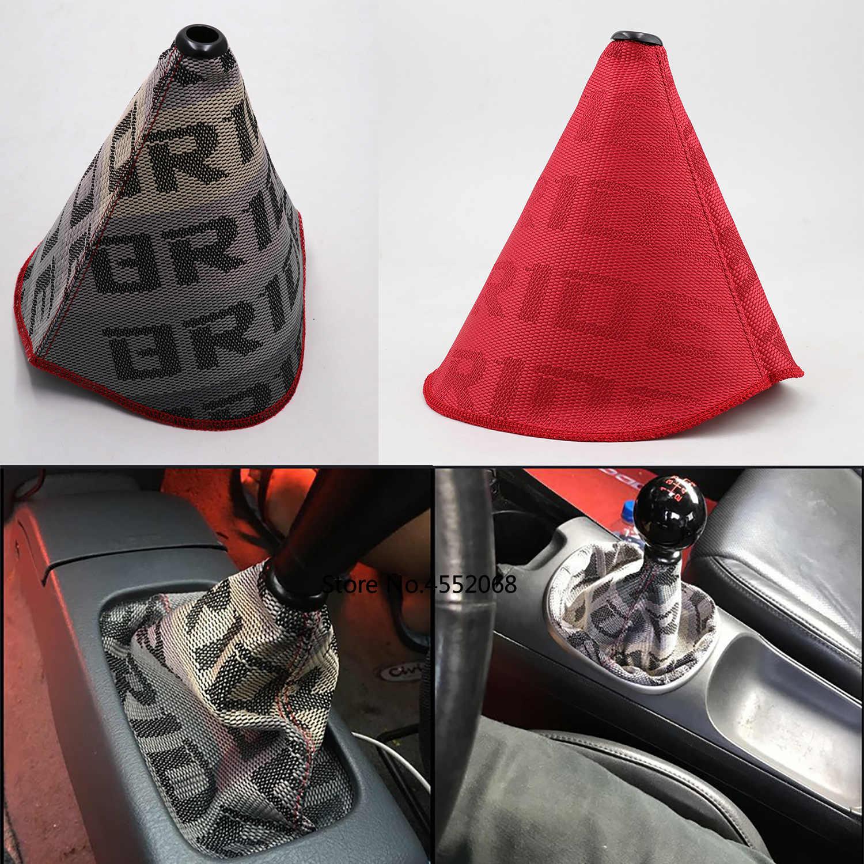 JDM Невеста Высокое качество Hyper ткань сдвиг загрузки гоночная ручка переключения передач крышка для универсальный автомобиль с красной строчкой