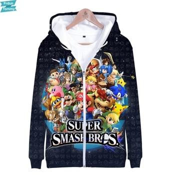Super Smash Bros Último 3D impreso cremallera sudaderas con capucha de las mujeres/de moda de los hombres de manga larga Sudadera con capucha de moda Streetwear ropa