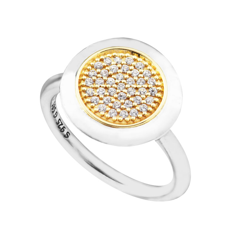 Rings 100% 925 Sterling-Silver-Jewelry Signature Ring with Real 14K and Clear CZ Newest Rings for Women FLR127K 925 sterling silver jewelry signature bangle bracelet with clear cz and real 14k gold fine jewelry trendy bangles for women 049k