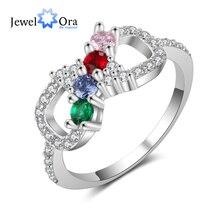 купить Romantic Women Infinity Ring with Zirconia Customized 4 Birthstones Rings for Women Personalized Gift (JewelOra RI103810) по цене 321.75 рублей