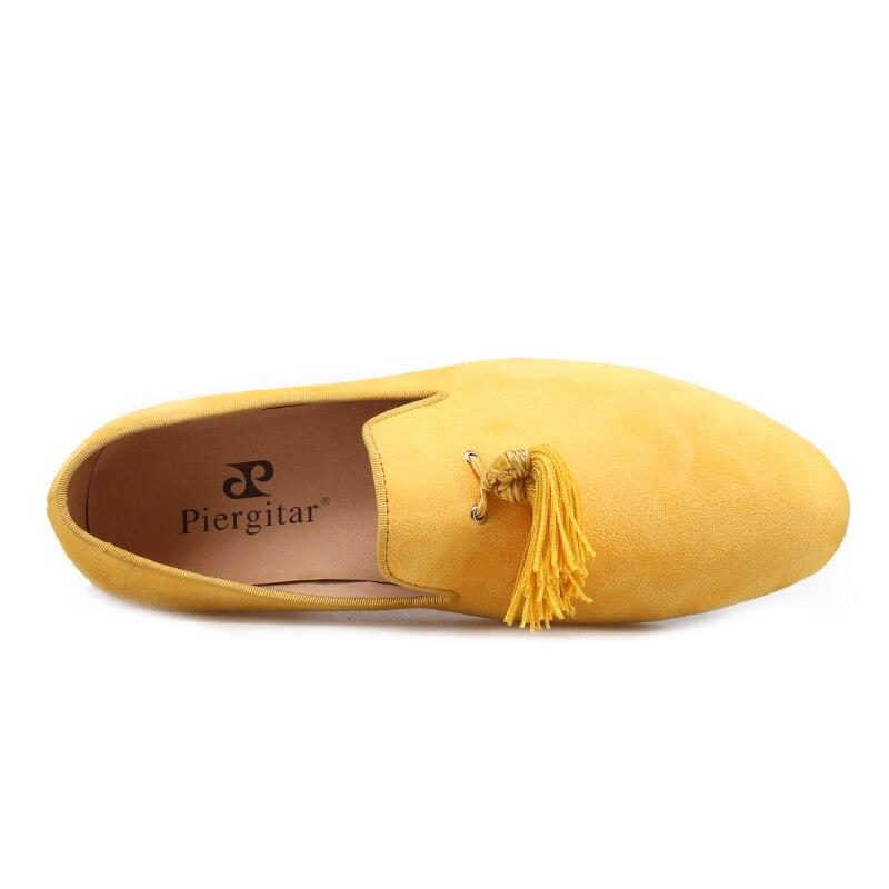 Piergitar nuevo estilo hecho a mano color amarillo hombres zapatos de terciopelo con borlas de moda fiesta y boda hombres zapatos de vestir mocasines masculinos - 3