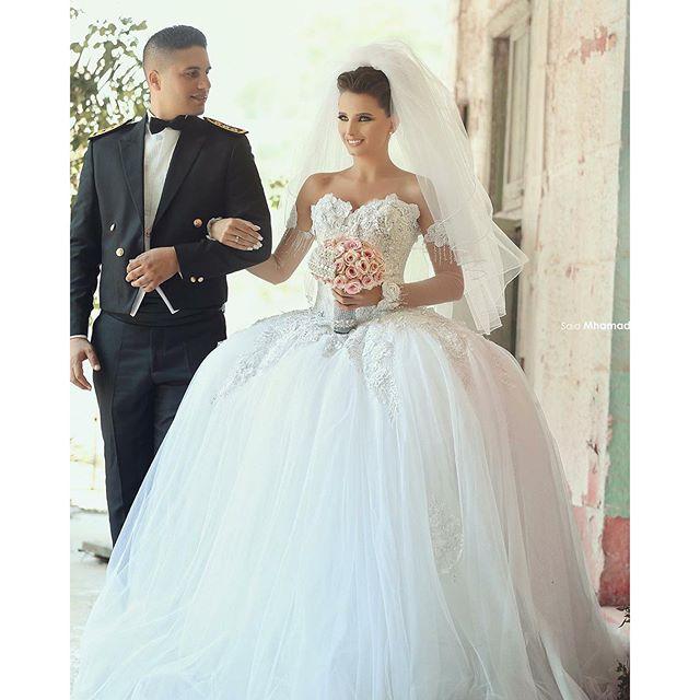 New Arrival Princess Lebanon Wedding Dresses 2016 Vestido De Novia Off The Shoulder Long Sleeve Ball