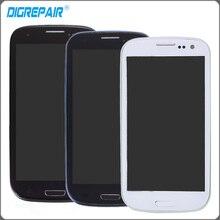 Blanco negro azul pantalla lcd pantalla táctil digitalizador de reparación asamblea completa con marco Para Samsung Galaxy s3 i9300