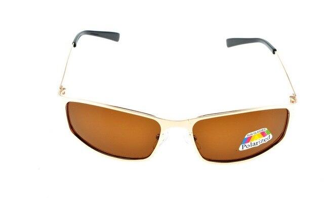 Pequeno retângulo de OURO mens Luz Polarizada marrom óculos de sol UV400  polaroid polarizada esporte de 6065ba1c08