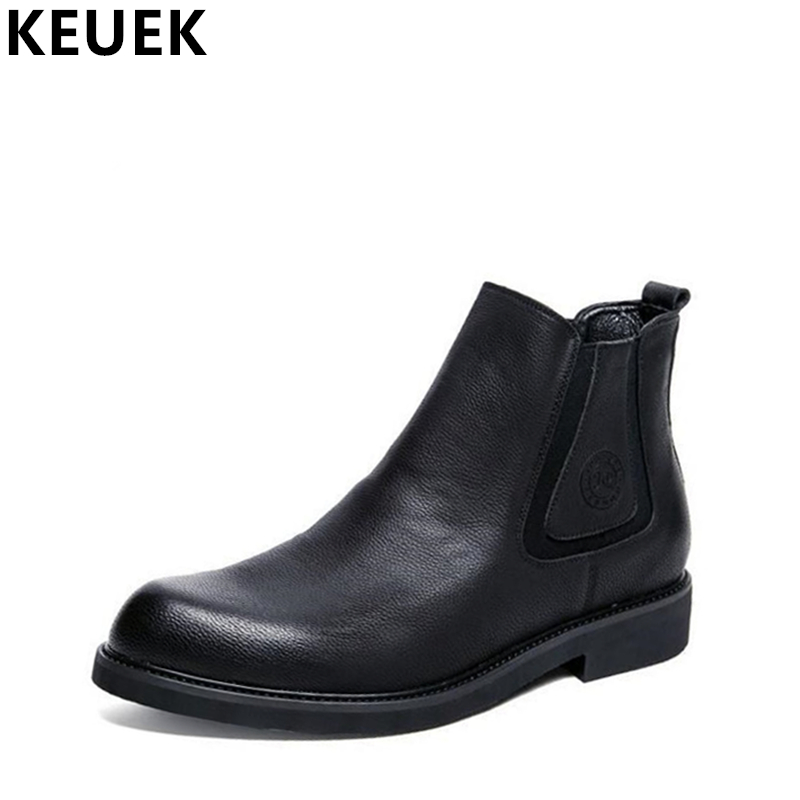 Autumn Winter Men Chelsea Boots Split Leather Ankle Martin boots British style Slip-On Pointed Toe Fashion boots 061 british style men chelsea boots genuine leather breathable bullock martin boots pointed toe slip on ankle boots 033