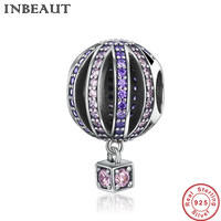 TINBEAUT Real 925 Sterling Silver Pink Purple Mirco Sparkling Cubic Zirconia Balloon Beads Charm Fit Pandora