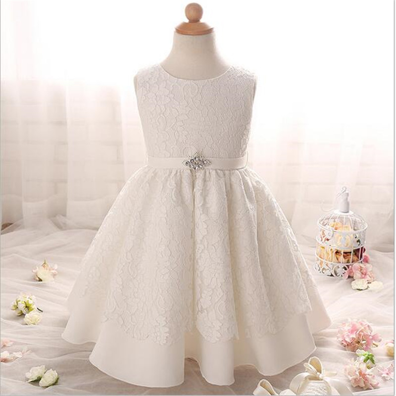 2016 fashion lace flower crytal baby dress high quality sleeveless infant toddler clothing suitable 0 2
