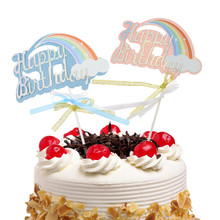 20pc/lot Cake Toppers Flags Glitter Rainbow Cloud Kids Happy Birthday Cupcake Topper Wedding Bride Baby Shower Party Baking DIY цена и фото