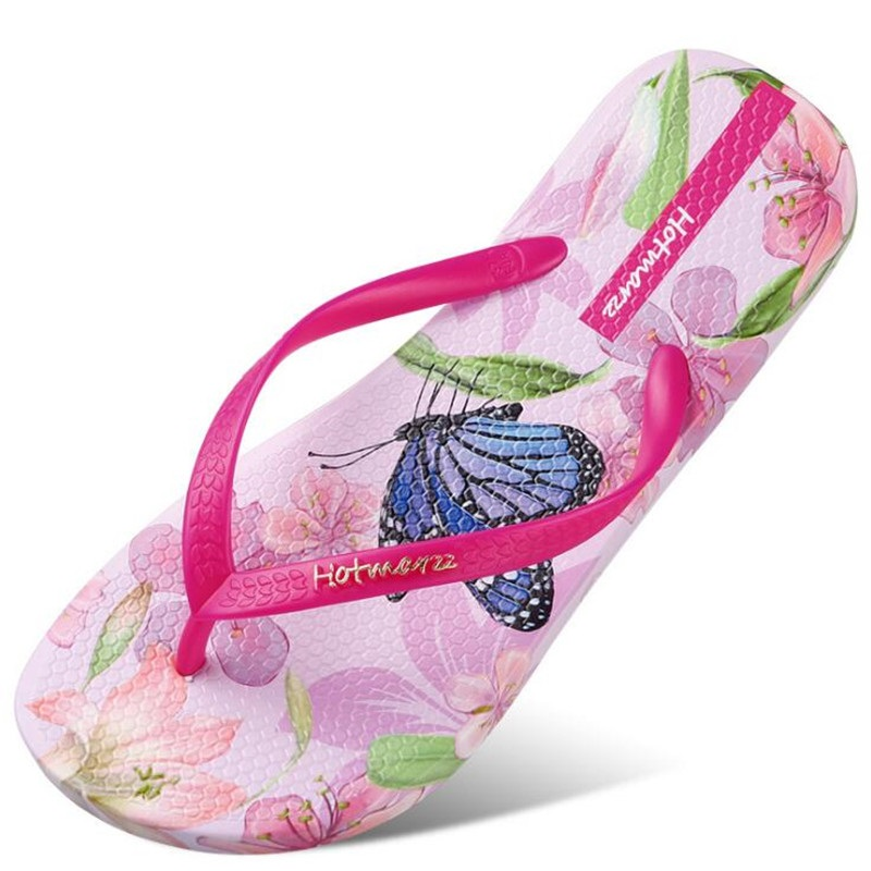 ff0a736f3409 New Women Beach Flip Flops Butterfly Floral 2018 Summer Fashion Slippers  Ladies Comfy House Shoes Woman