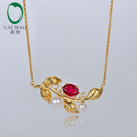 Caimao Jewelry 14kt Yellow Gold Natural 0.51ct Ruby With Pearl and Diamond Engagement Chain Pendant
