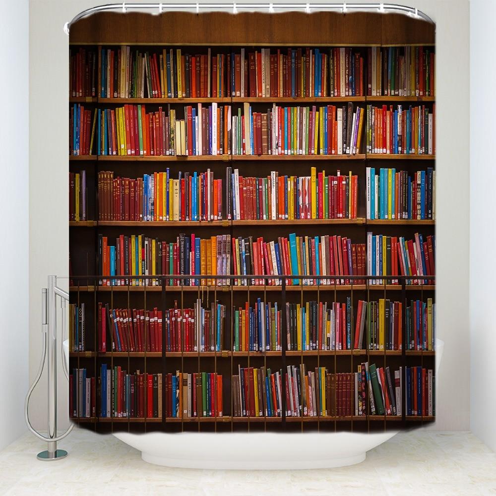 Charmhome Custom Nette Boekenplank, Bibliotheek Waterdicht Polyester Badkamer Douchegordijn Zeer EfficiëNt Bij Het Behouden Van Warmte