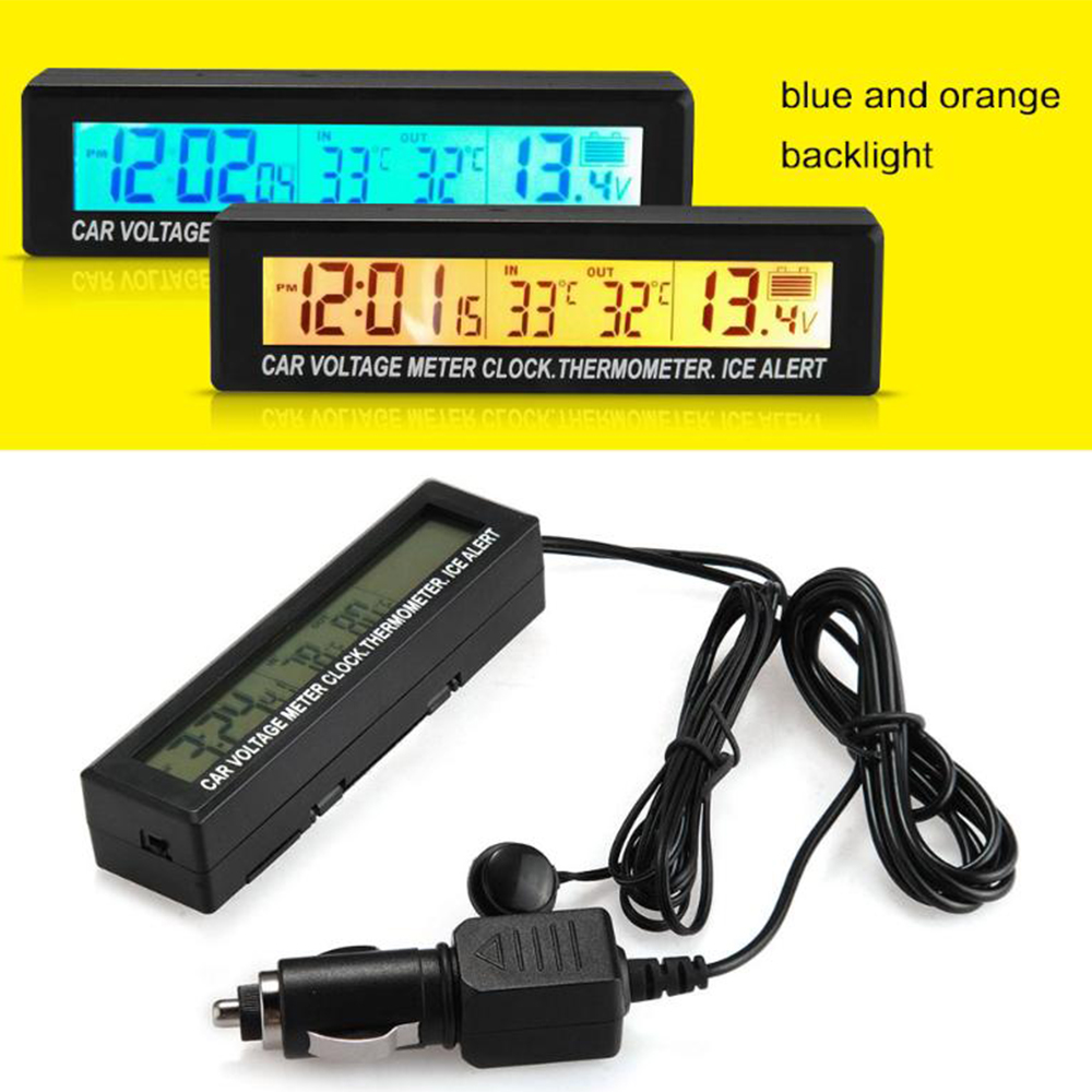 <font><b>LCD</b></font> Display Batterie Spannung Temperatur Monitor Meter 3 in 1 Auto Durable Digitale Auto Uhr Thermometer image