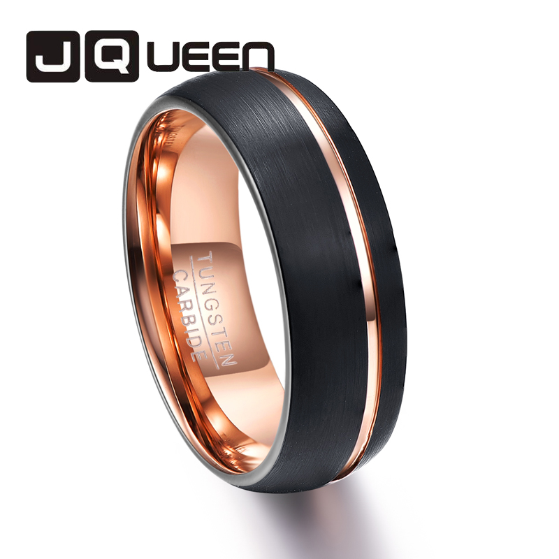 1 предмет покрытие черный Вольфрам Сталь кольцо купола полированная поверхность розового золота Тренч Модные кольца для человека полный ра...