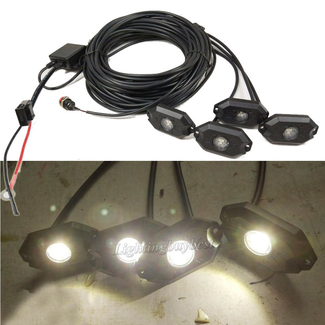 set 4 6 8 pods led rock light & wiring harness strobe chasing 14 lighting  modes control box white red green blue amber 5 colors