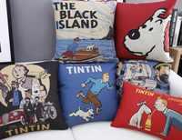 Funda de almohada con caricaturas europeas Tintin funda de cojín decorativa para el hogar funda de almohada de lino fundas decorativos para sofá
