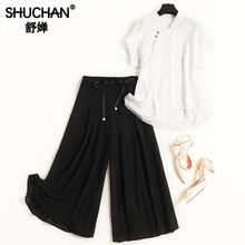 2 Piece Sets Womens Outfits Chinese Style Silk and Linen Tops with Short Sleeve+ Elastic Waist Calf-Length Pants Suit 12292