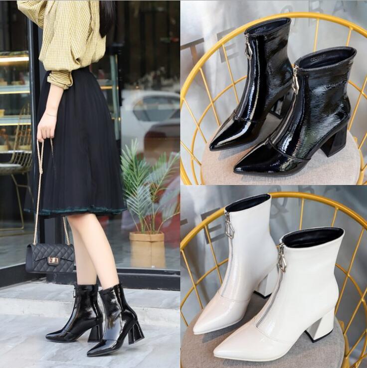 Cheville De Pointu Effgt Zipper Femmes Beige Verni Bout Talon Moto Bottes Chaussures Mode noir En Hiver 2018 Z205 Hgih Cuir Martin qnT0qSvwfr