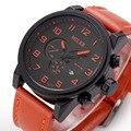 MILER Calendario Mens Reloj de La Vendimia Pulsera Analógico Correa de Cuero Relojes de Primeras Marcas de Lujo Del Relogio masculino Números Arábigos ML40