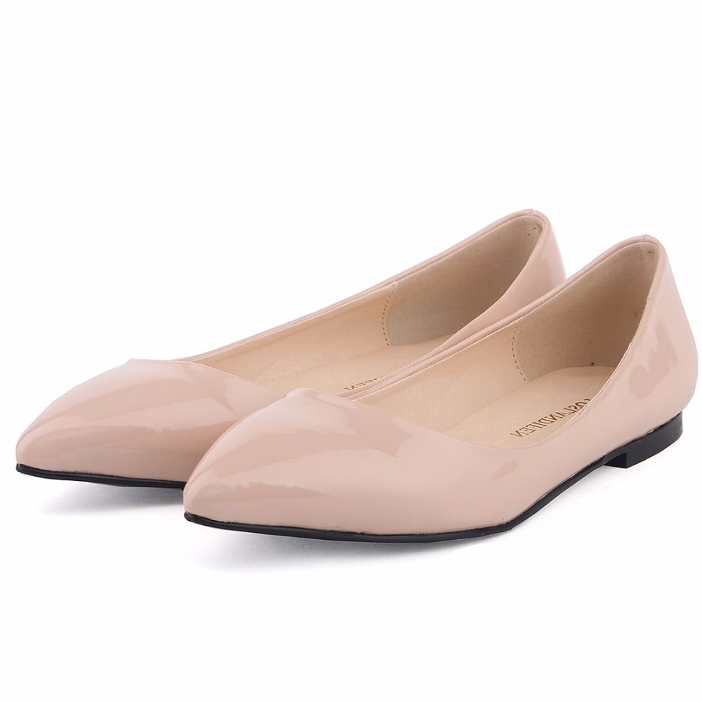 Fashion Women Spring Autumn Flats Shoes Solid Pointed Toe Slip-On Patent Leather Flats Ladies New Single Casual Shoes020-2PA