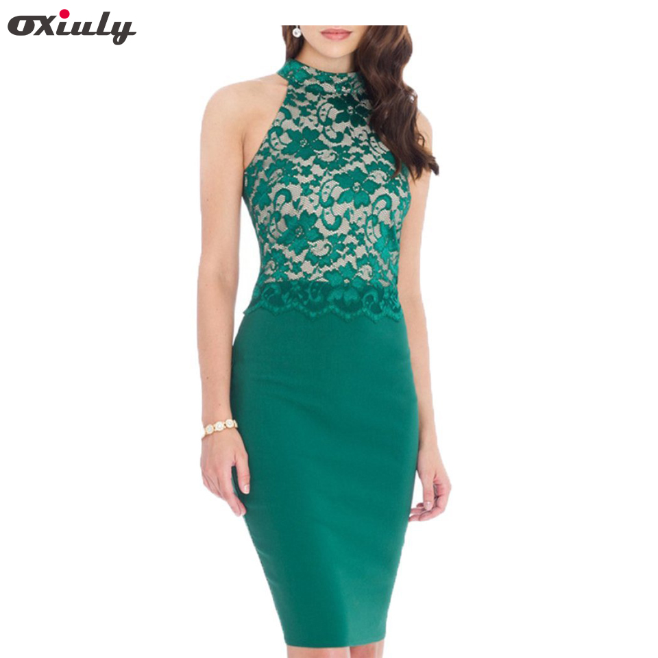 Oxiuly Femmes Sexy Tricoté Halter Bustier Vert Dentelle Crop Top Sans Manches Patchwork Slim Club Wear Casual Parti Robe Crayon