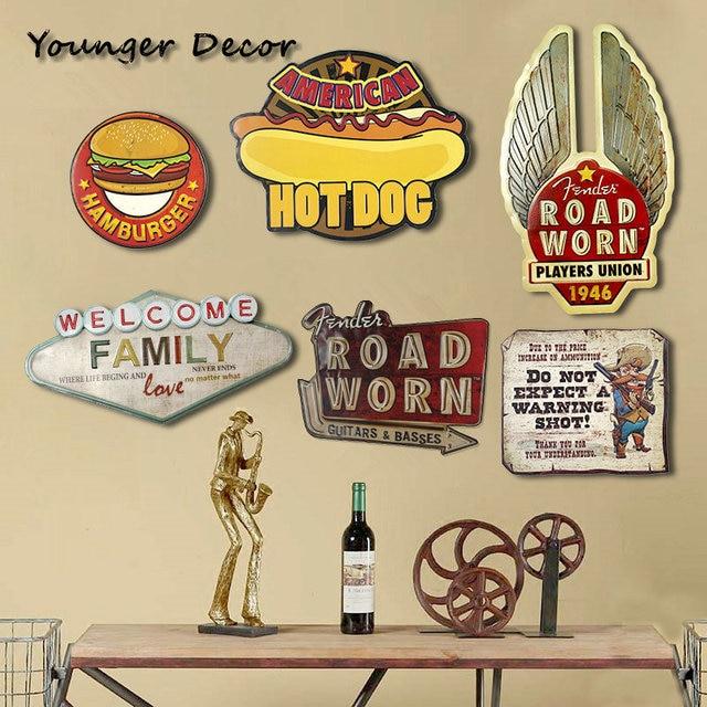 Rustic Road Worn 1946 Wall Decor Metal Board American Hot Dog ...