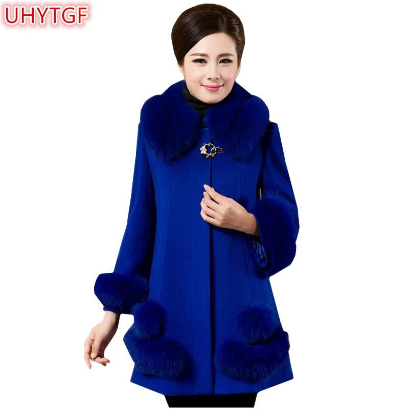 UHYTGF 2018 High quality Winter Wool Women Trench Coat 6XL Plus size Wool Coat Casual Korean Woolen coat Elegant Ladies coat 177