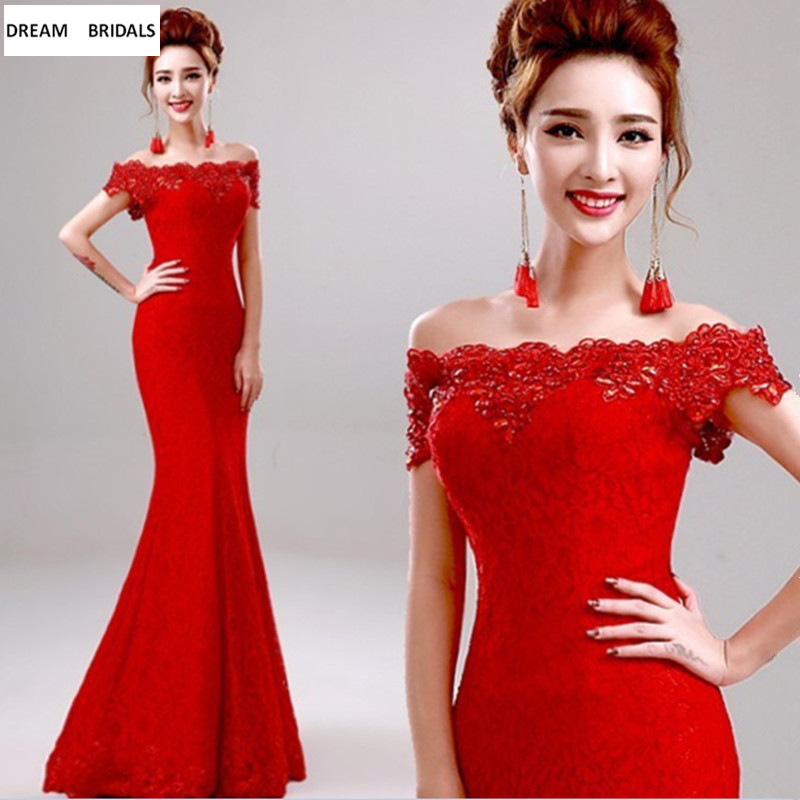 Red Lace Trumpet Boat Neck   Prom     Dresses   Long Off The Shoulder Robe De Soiree With Beading Crystal Evening   Dresses   2019