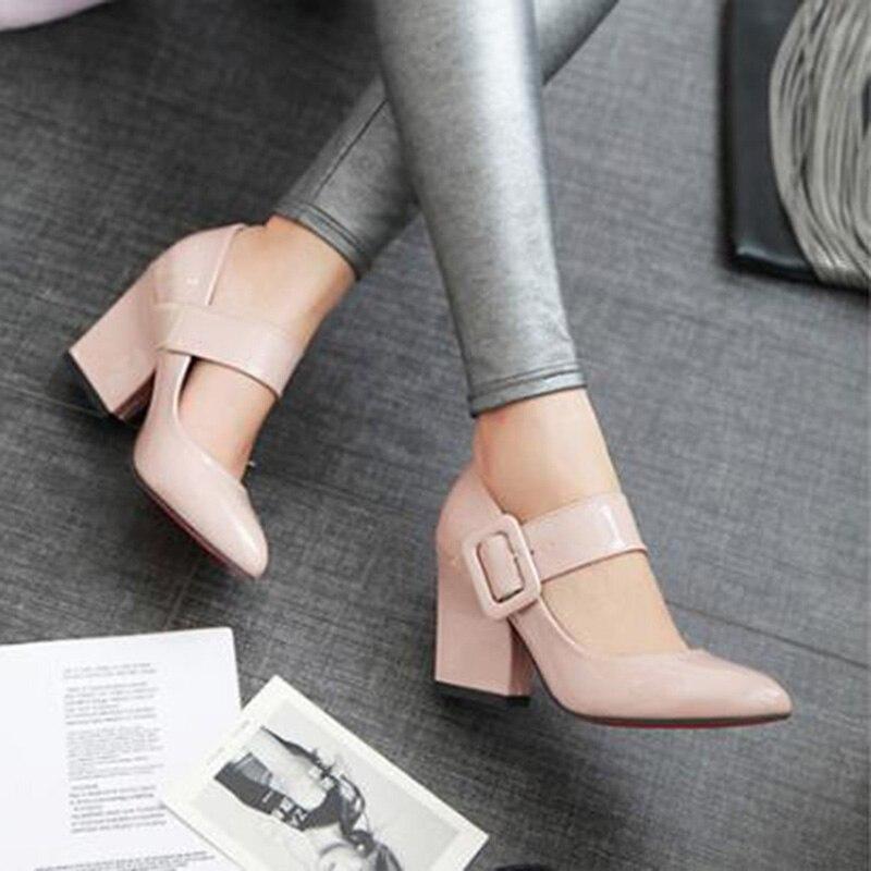 Туфли на высоком каблуке, женские туфли Мэри Джейн, туфли-лодочки на толстом высоком каблуке, Осенняя обувь, красные, черные, белые, абрикосо...