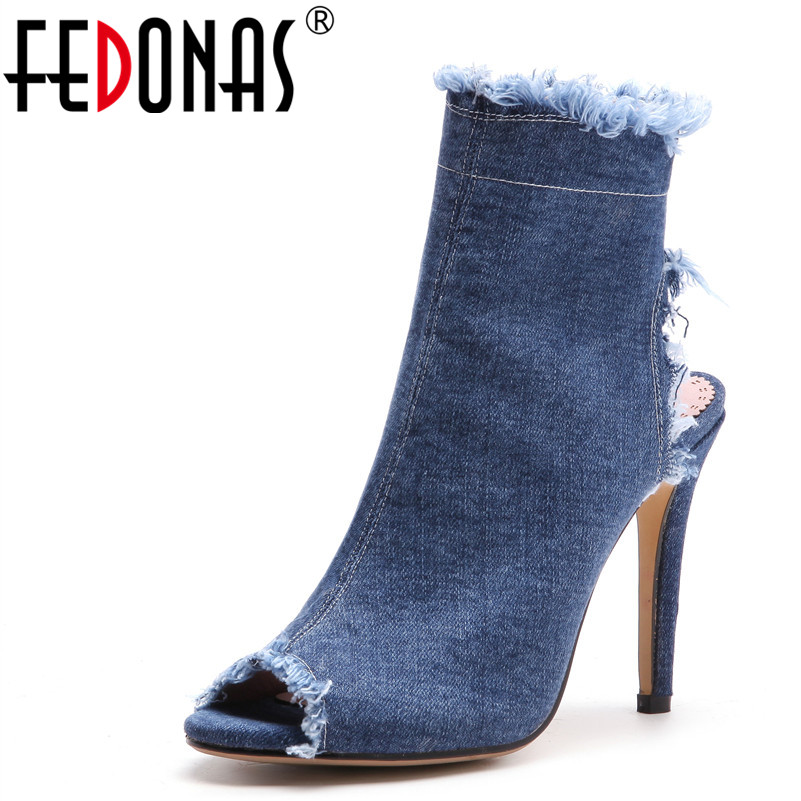 цены FEDONAS New Women Denim Shoes Sexy Super High Heels 9.5CM Summer Sandals Sexy Peep Toe Wedding Party Shoes Woman Female Pumps
