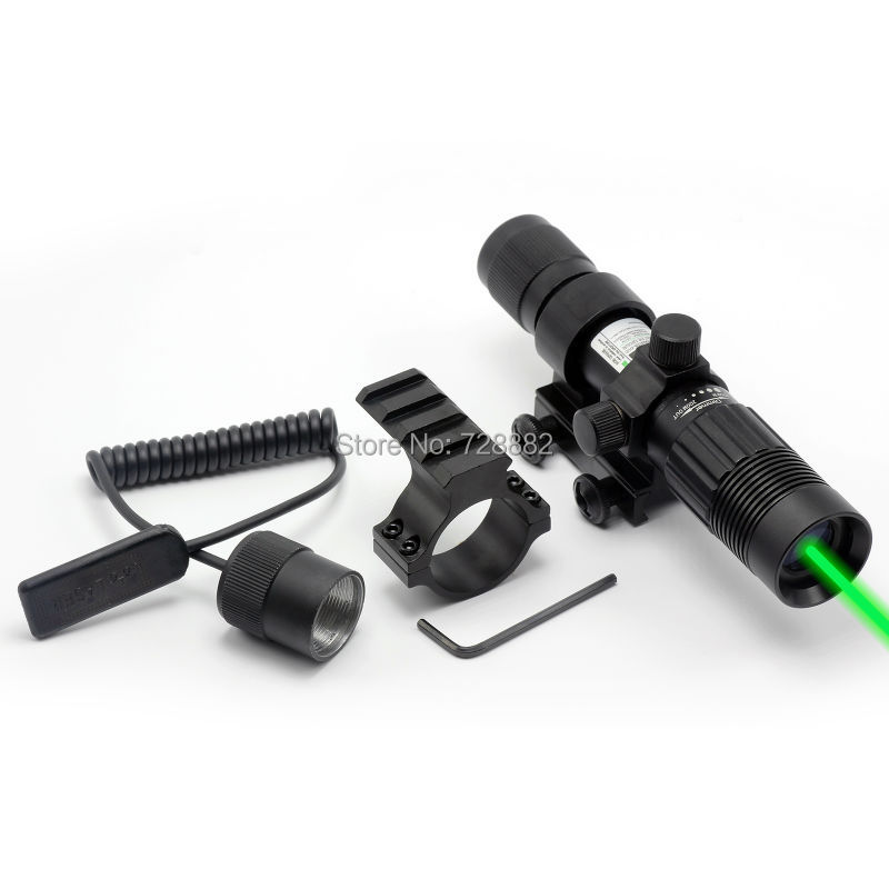Tactical 532nm Green Dot Laser Designator Sight Adjustable Weaver Mount With Tail Switch For Hunting Rifle Guns
