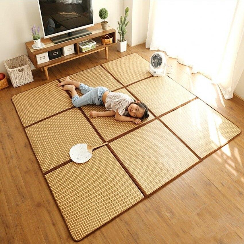 Натуральный Растительный ротанговый коврик для гостиной для лета, коврик для прохладной татами, японский стиль, легкий уход, складной ковер...