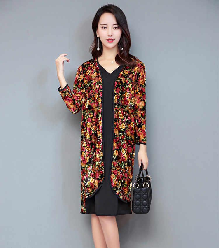 AYUNSUE Plus Größe Kleid 4XL 5XL 6XL Langarm Kleid Casual sommerkleider Sommer Kleidung Für Frauen Gefälschte Zweiteilige V-ausschnitt KJ069