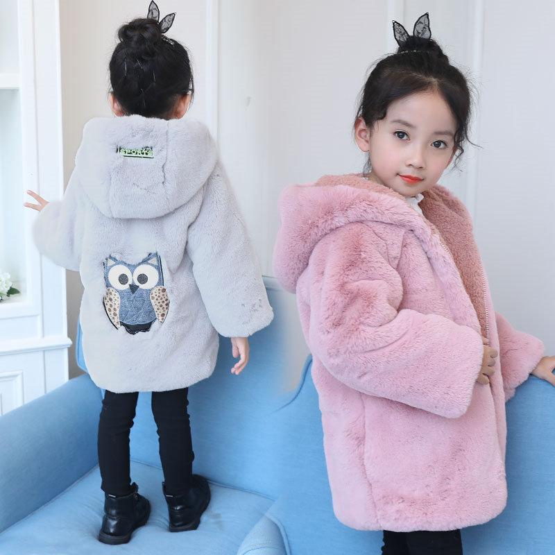 2018 Winter Girls Faux Fur Inside Coats Cute Owl Thicken Warm Children Outerwear Infants Princess Kids Coat With Hood Jacket