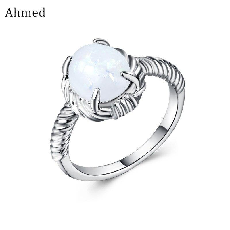 Liberal Ahmed Mode Weiß Blau Oval Feuer Opal Engagement Ring Für Frauen Hochzeit Bands Charme Silber Gefüllt Ringe Dropshipping Schmuck & Zubehör