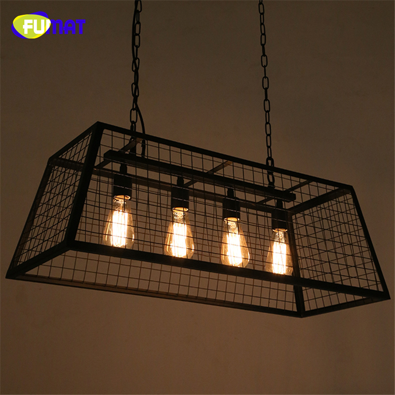 FUMAT Loft Box Pendant Lamps Vintage Industrial Art Decor Edison Pendant Lamp Dining Room Black Metal Bar Cafe Pendant Light