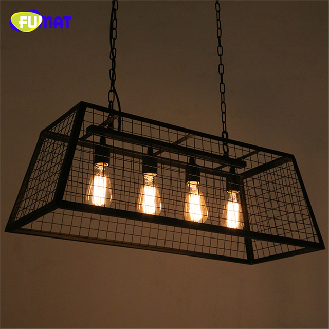 FUMAT Loft Box Pendant Lamps Vintage Industrial Art Decor Edison Lamp Dining Room Black Metal