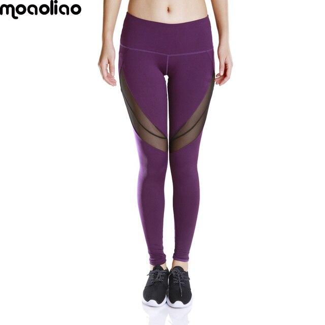 2e83371c8219f5 moaoliao Women Leggings Fitness Winter Leggings New Arrival Ladies Plain  Elastic Waist Color Block Mesh Insert Leggings