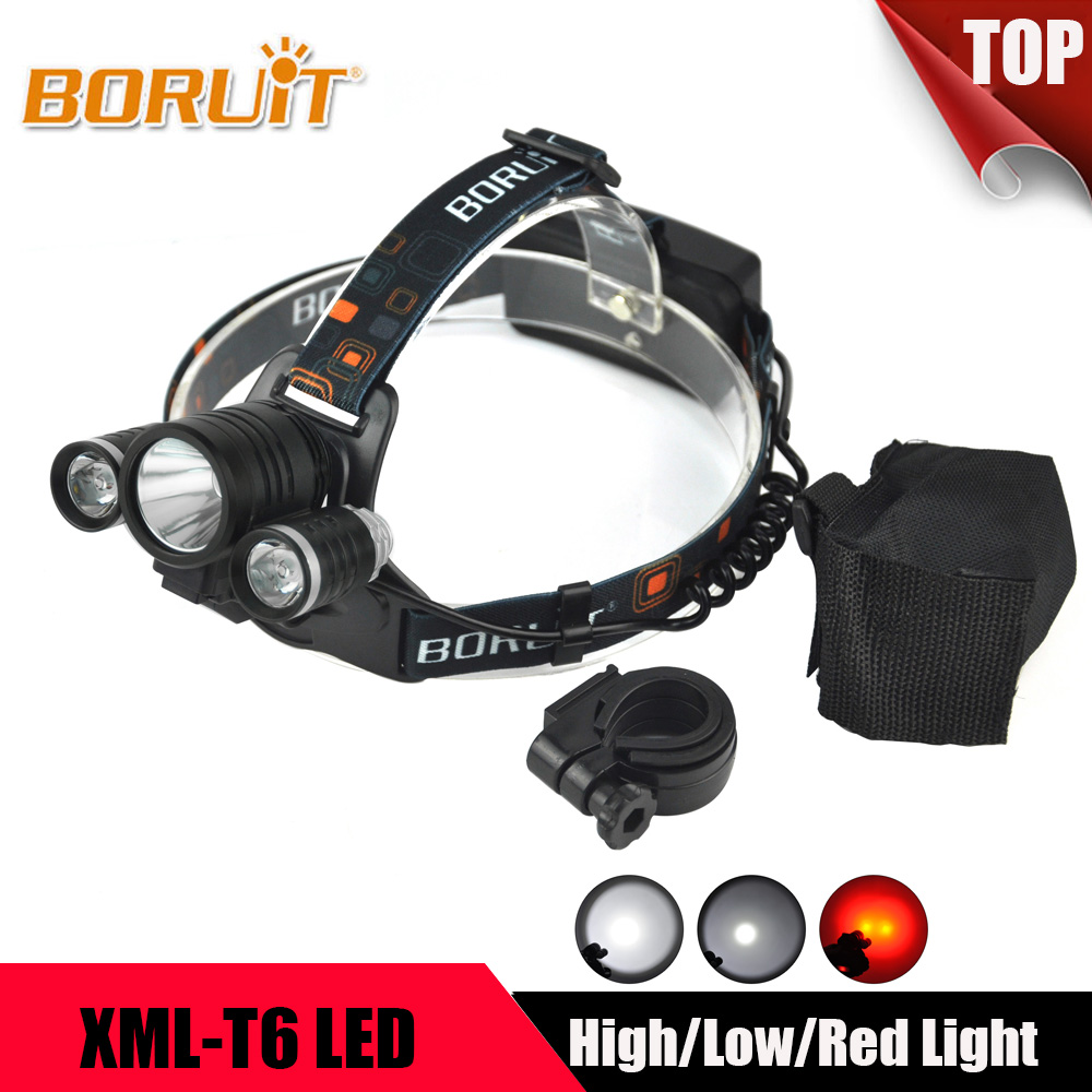 BORUIT 8000LM 3Mode T6 R2 LED Headlight Red Light Lanterna Bike Front Light 18650 Battery Headlamp For Hunting Riding Head Torch