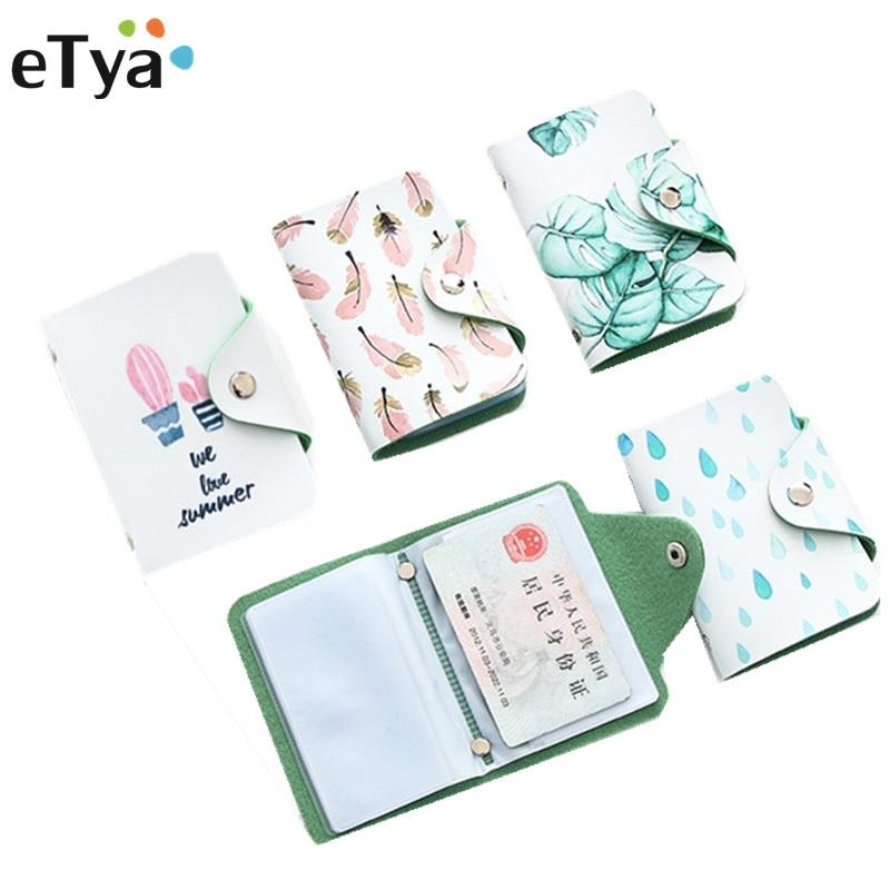 ETya Cartoon Cute Credit Card Holders Case Fashion Women ID Business Bus Card Passport Holder Card Bag Wallet Bag