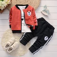 1 dozen = 5 sets spring New children's clothing Jacket t shirt and pants 3 pieces Clothing Sets for Boy's clothes Kids clothes