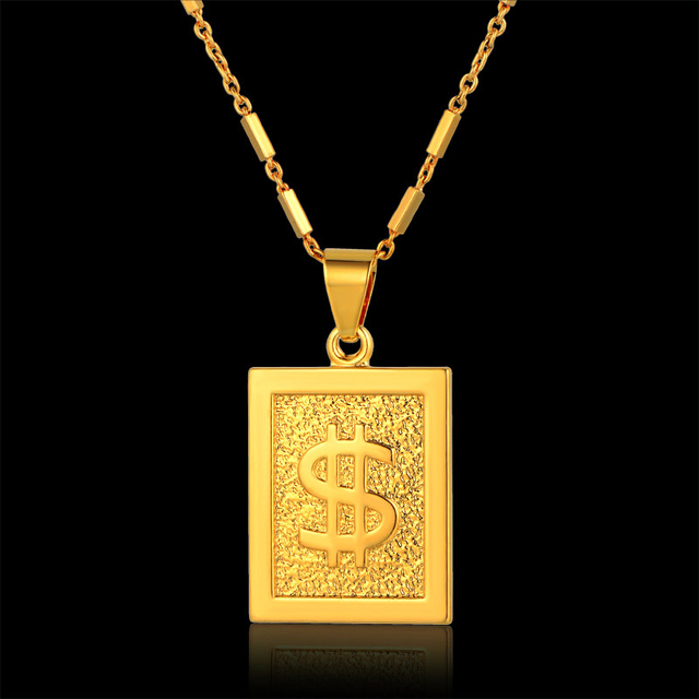 Wholesale gold dollar chain bling dollar sign necklace square wholesale gold dollar chain bling dollar sign necklace square pendant necklace hiphop men jewelry cheap fashion aloadofball Images