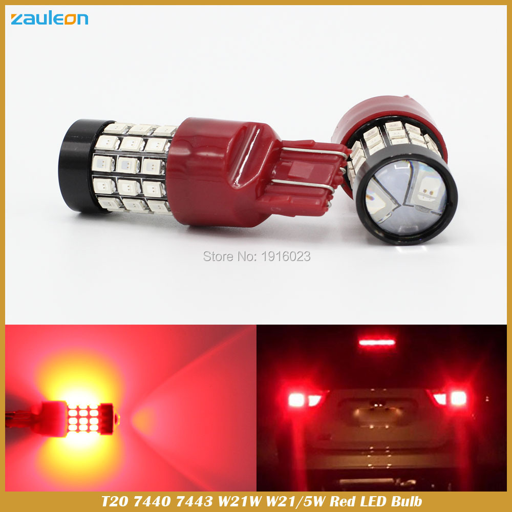 2PCS W21/5W 7443 T20 7440 W21W Red LED Brake Stop Light Bulbs Lighting Taillight rear Car Parking Lamp Lights 1x car led t20 7443 w21 5w auto rear light stop bulbs 21 5w external brake lights replacement halogen car styling parking lights