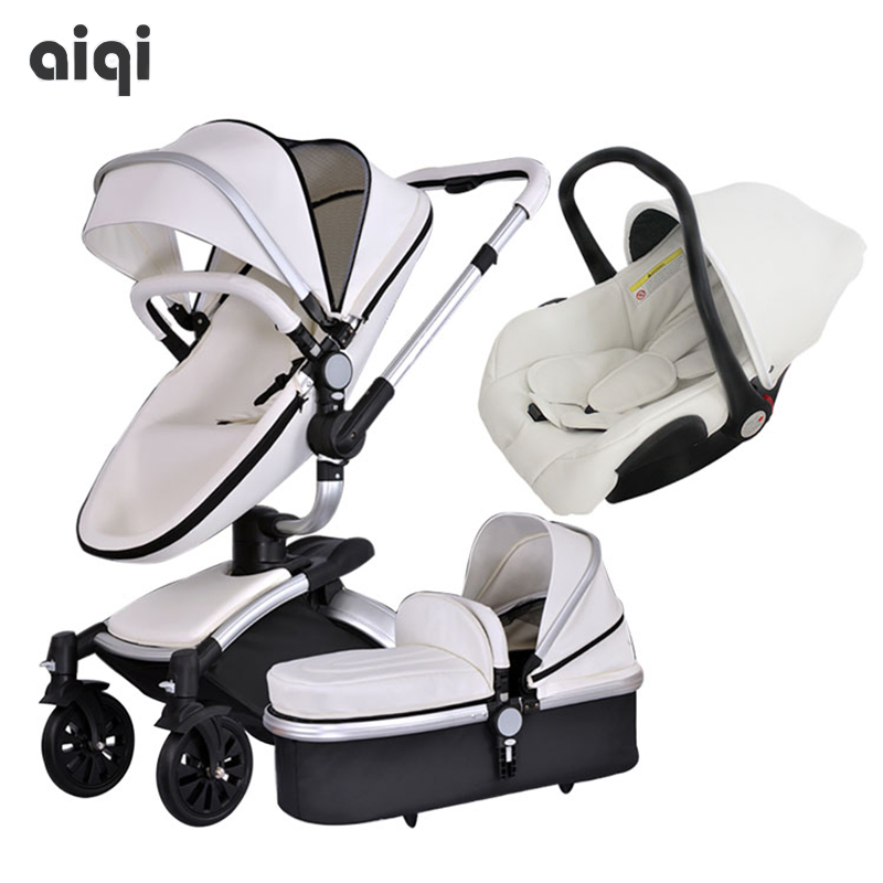 Poussette Baby New 2017 Brand Top Sell Baby Strollers 360 Rotate Export High Quality Leather White Black Color 3 In 1 Carriage