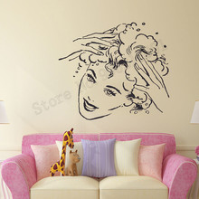 Women Girls Hair Shop Room Decoration Beauty Salon Mural Barbershop Wall Sticker Art Vinyl Removeable Poster Home Decor LY760 цена и фото